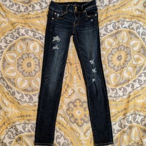 Ripped Dark Wash Skinny Jeans American Eagle Outfi